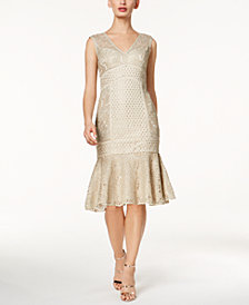 Adrianna Papell Metallic Lace Dress