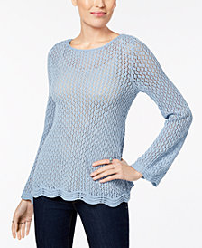 Style & Co Crocheted Sweater, Created for Macy's