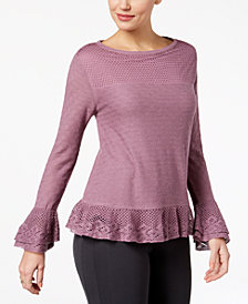 Style & Co Layered Ruffle-Trim Knit Sweater, Created for Macy's