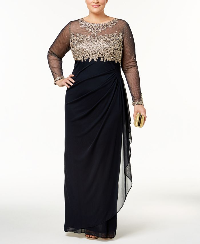 XSCAPE - Plus Size Embroidered Illusion Gown