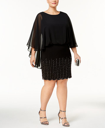 Xscape Plus Size Embellished Cape Dress - Dresses - Women - Macy\'s
