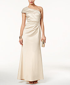 Vince Camuto Satin Foldover One-Shoulder Gown
