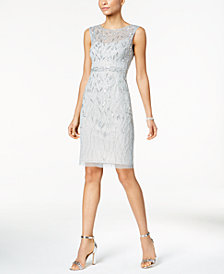Adrianna Papell Sequined Mesh Sheath Dress