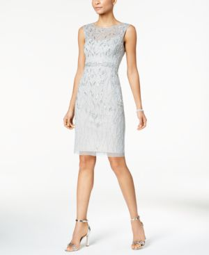 Adrianna Papell Sequined Mesh Sheath Dress 5399922