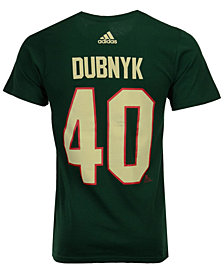 adidas Men's Devan Dubnyk Minnesota Wild Silver Player T-Shirt