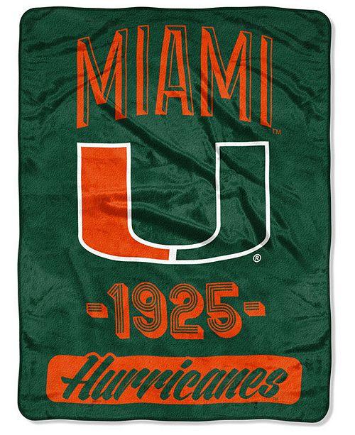 Northwest Company Miami Hurricanes Micro Raschel Varsity Blanket