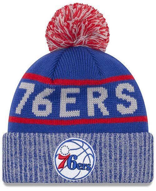 New Era Philadelphia 76ers Court Force Pom Knit Hat - Sports Fan ... 0de272571c1