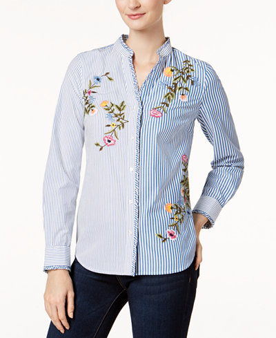 Charter Club Petite Embroidered Mixed-Stripe Shirt, Created for Macy's