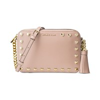 Michael Kors Medium Ginny Heart Studded Camera Bag (Soft Pink)