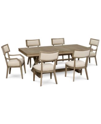 Rachael Ray Highline Expandable Dining Furniture, 7-Pc. Set (Trestle Dining Table, 4 Side Chairs & 2 Arm Chairs)
