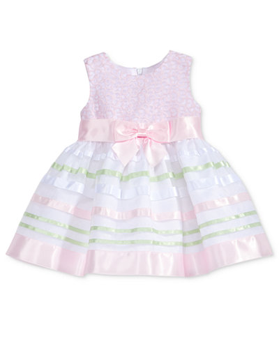 Bonnie Baby Embroidered Striped-Skirt Dress, Baby Girls