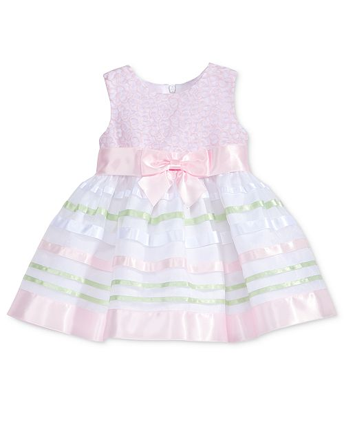 f74cafba9 Bonnie Baby Embroidered Striped-Skirt Dress, Baby Girls & Reviews ...