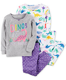 Carter's 4-Pc. Dino-Print Cotton Pajamas, Baby Girls