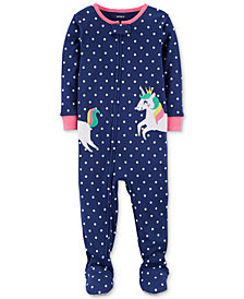 Carter's Unicorn Dot-Print Footed Cotton Pajamas, Baby Girls