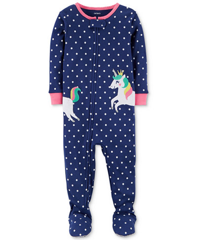 Carter's Unicorn Dot-Print Footed Cotton Pajamas, Baby Girls