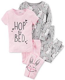 Carter's 4-Pc. Bunny-Print Cotton Pajama Set, Baby Girls