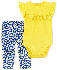 Carter's 2-Pc. Ruffle Cotton Bodysuit & Pants Set, Baby Girls
