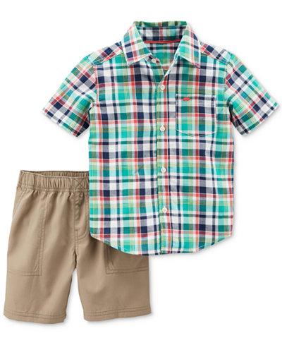 Carter's 2-Pc. Plaid Cotton Shirt & Shorts Set, Baby Boys