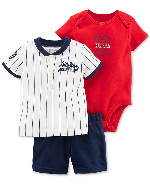 Carter s 3-Pc. Cotton Baseball Shirt 92eab9b2e3