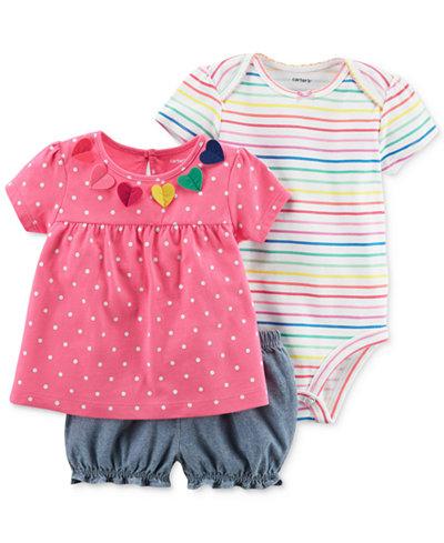 Carter's 3-Pc. Cotton Shirt, Bodysuit & Shorts Set, Baby Girls
