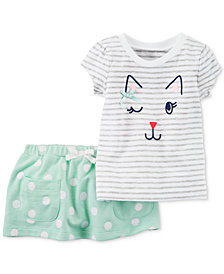 Carter's 2-Pc. Cotton Cat-Print T-Shirt & Skort Set, Baby Girls