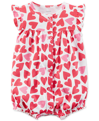 Carter's Heart-Print Cotton Romper, Baby Girls