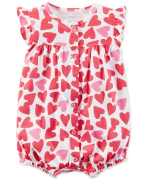 Carters HeartPrint Cotton Romper Baby Girls (024 months)
