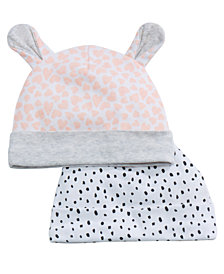 First Impressions 2-Pk. Printed Cotton Hats, Baby Girls, Created for Macy's
