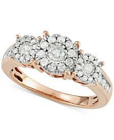Diamond Three Stone Engagement Ring (3/4 ct. t.w.) in 14k Gold, White Gold or Rose Gold