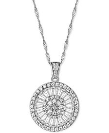 Cubic Zirconia Baguette Disc Pendant Necklace in Sterling Silver