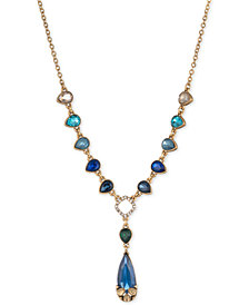 Carolee Gold-Tone Multi-Stone Teardrop & Pavé Y-Necklace