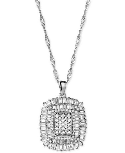 Cubic Zirconia Cluster Pendant Necklace in Sterling Silver