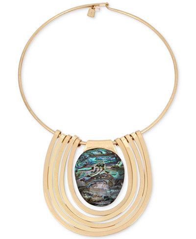 Robert Lee Morris Soho Gold-Tone Abalone Stone Statement Necklace