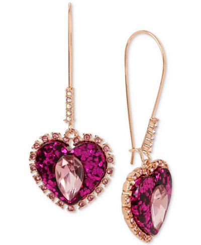 Betsey Johnson Rose Gold-Tone Pink Stone & Glitter Heart Drop Earrings