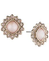 Marchesa Gold-Tone Crystal Button Earrings