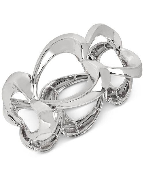 Robert Lee Morris Soho Silver-Tone Heart Link Stretch Bracelet
