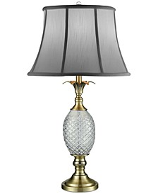 Crystal Brass Pineapple Table Lamp