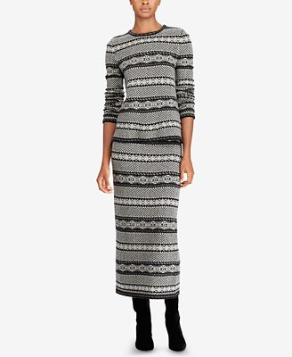 Lauren Ralph Lauren Fair Isle Herringbone Long Skirt - Skirts ...