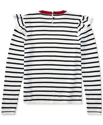 Ralph Lauren Striped Ruffle-Trim Cotton Sweater, Big Girls ...