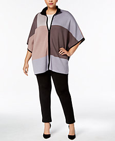 Anne Klein Plus Size Colorblocked Zip-Front Poncho Sweater