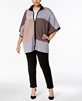 66bd3a9526140 Anne Klein Plus Size Colorblocked Zip-Front Poncho Sweater