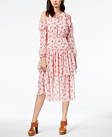 Maison Jules Cold-Shoulder Flounce Dress, Created for Macy's