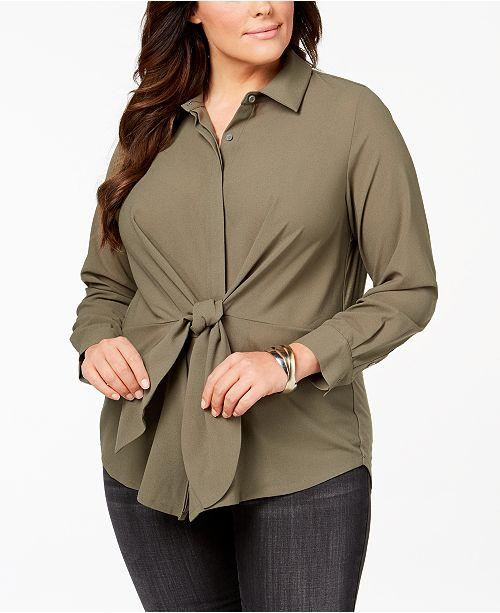e0c04816af38a INC International Concepts I.N.C. Plus Size Tie-Front Tunic Shirt ...