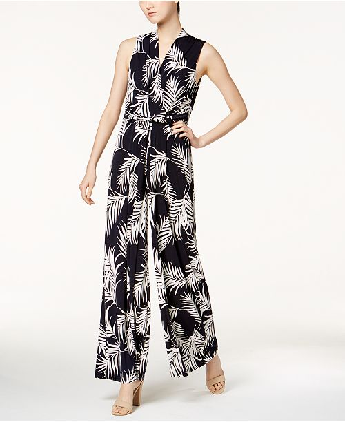 b4a64a1d991 Jessica Howard Printed Belted Jumpsuit  Jessica Howard Printed Belted  Jumpsuit ...