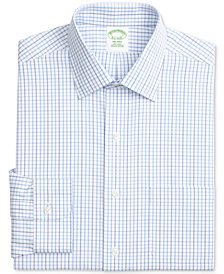 Brooks Brothers Men's Milano Extra Slim-Fit Non-Iron Blue Windowpane Check Dress Shirt