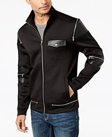 I.N.C. Men's Zipper Jacket with Faux Leather Trim, Created for Macy's