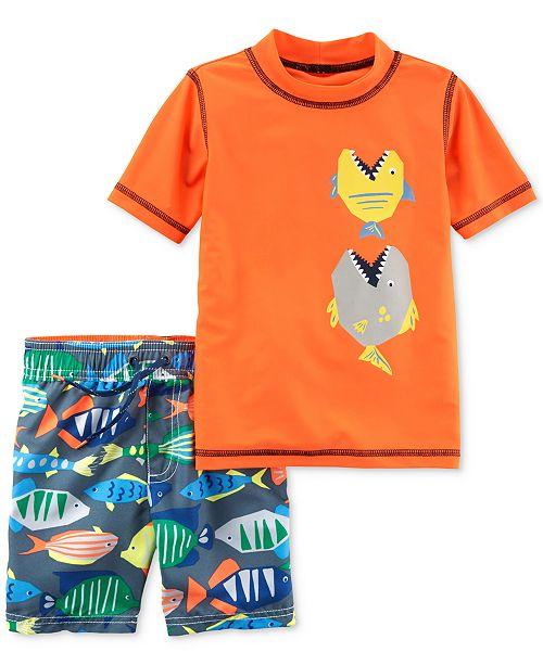 8ab4460e2a1ef Carter's 2-Pc. Fish Rash Guard & Swim Trunks Swim Set, Little Boys ...