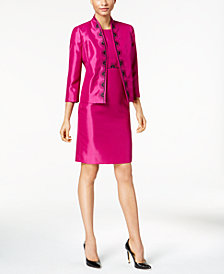 Kasper Embroidered Shimmer Blazer & Sheath Dress