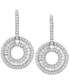 Cubic Zirconia Circle Drop Earrings in Sterling Silver