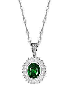 "Cubic Zirconia and Simulated Stone 18"" Pendant Necklace in Sterling Silver"